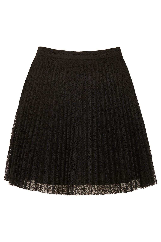 topshop black lace pleat mini skirt in black lyst