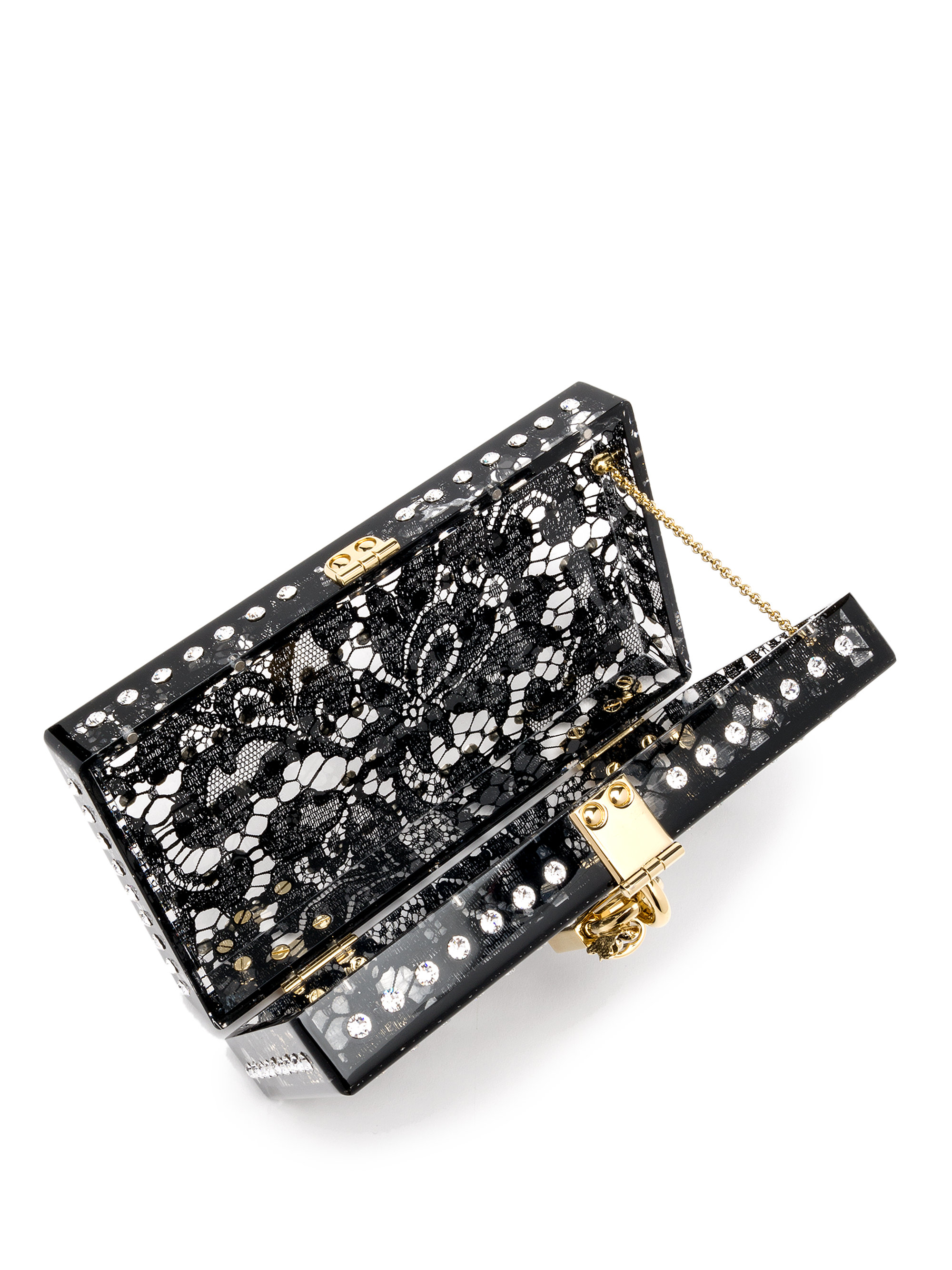 e6ccadaf68 Dolce & Gabbana Embellished Acrylic-covered Lace Clutch in Black - Lyst