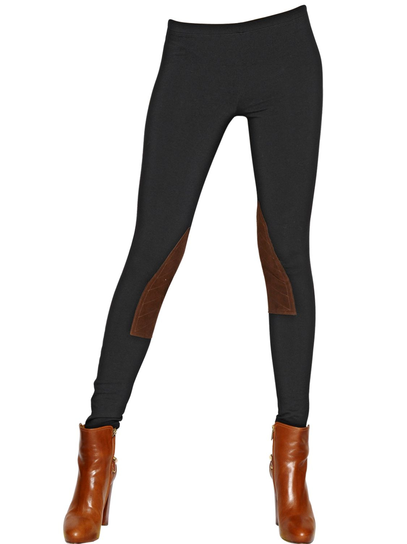 ea19b4db107173 Polo Ralph Lauren Jodhpur Cotton Jersey & Leather Leggings in Black ...