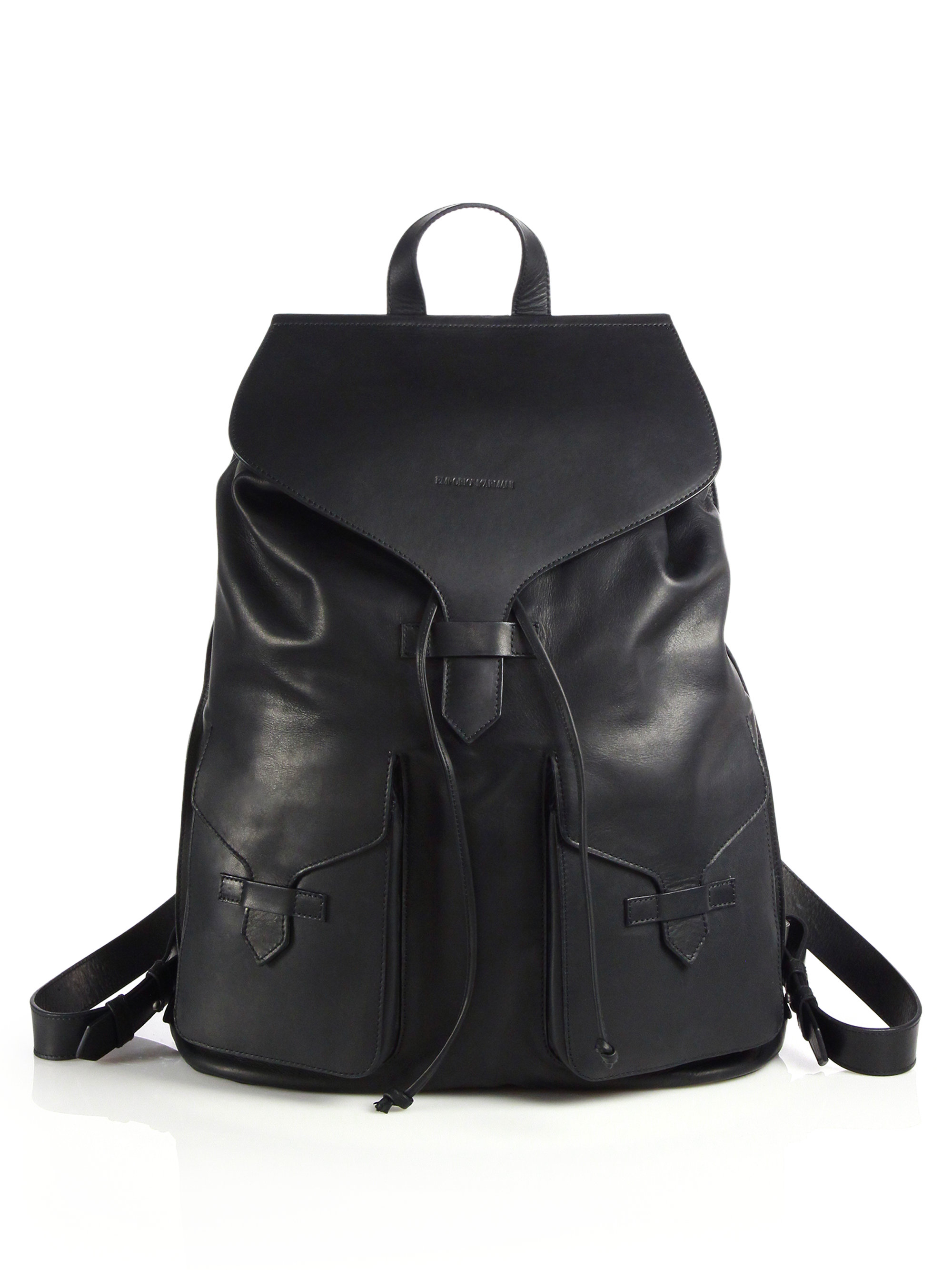 Men s Black Leather Backpack - ShopStyle f7abc9ca6351