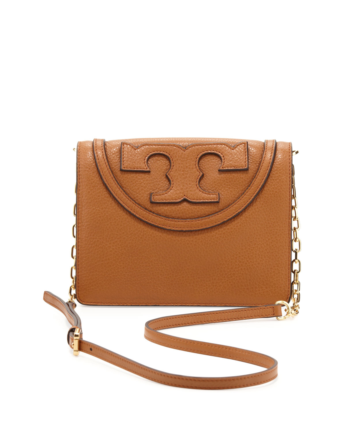 2fadf53d298 Lyst - Tory Burch All T Pebbled Crossbody Bag in Brown
