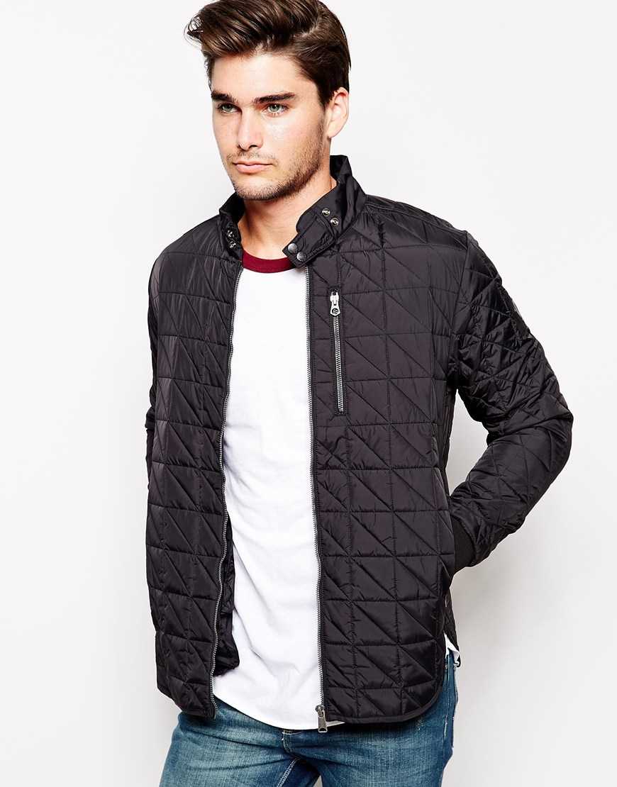 replay overshirt jacket quilted in black for men lyst