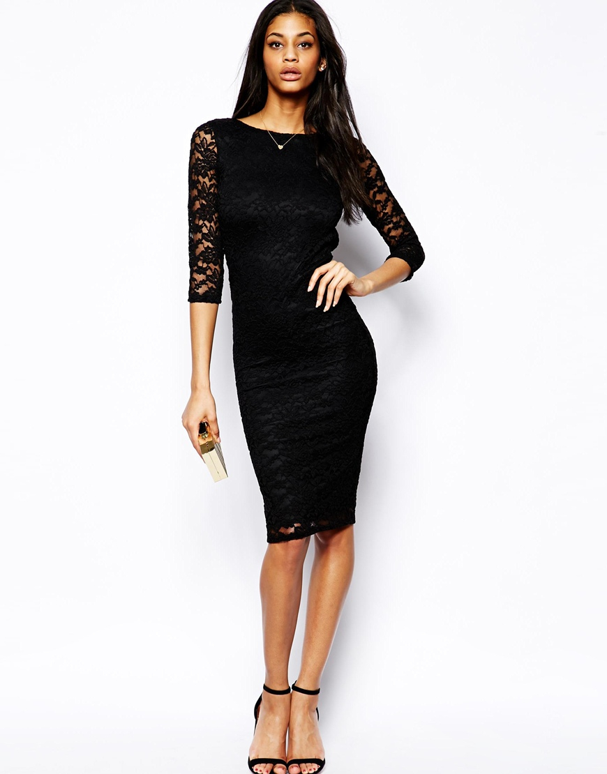 Asos Low Back Lace Midi Bodyconscious Dress in Black | Lyst
