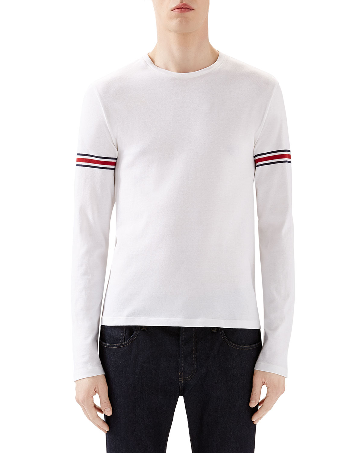 Gucci Arm Band Detailed Cotton Top In White For Men Lyst