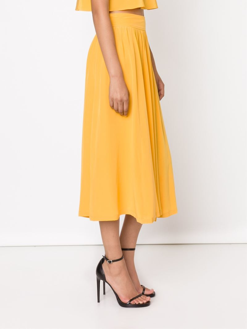 apiece apart draped midi skirt in yellow lyst