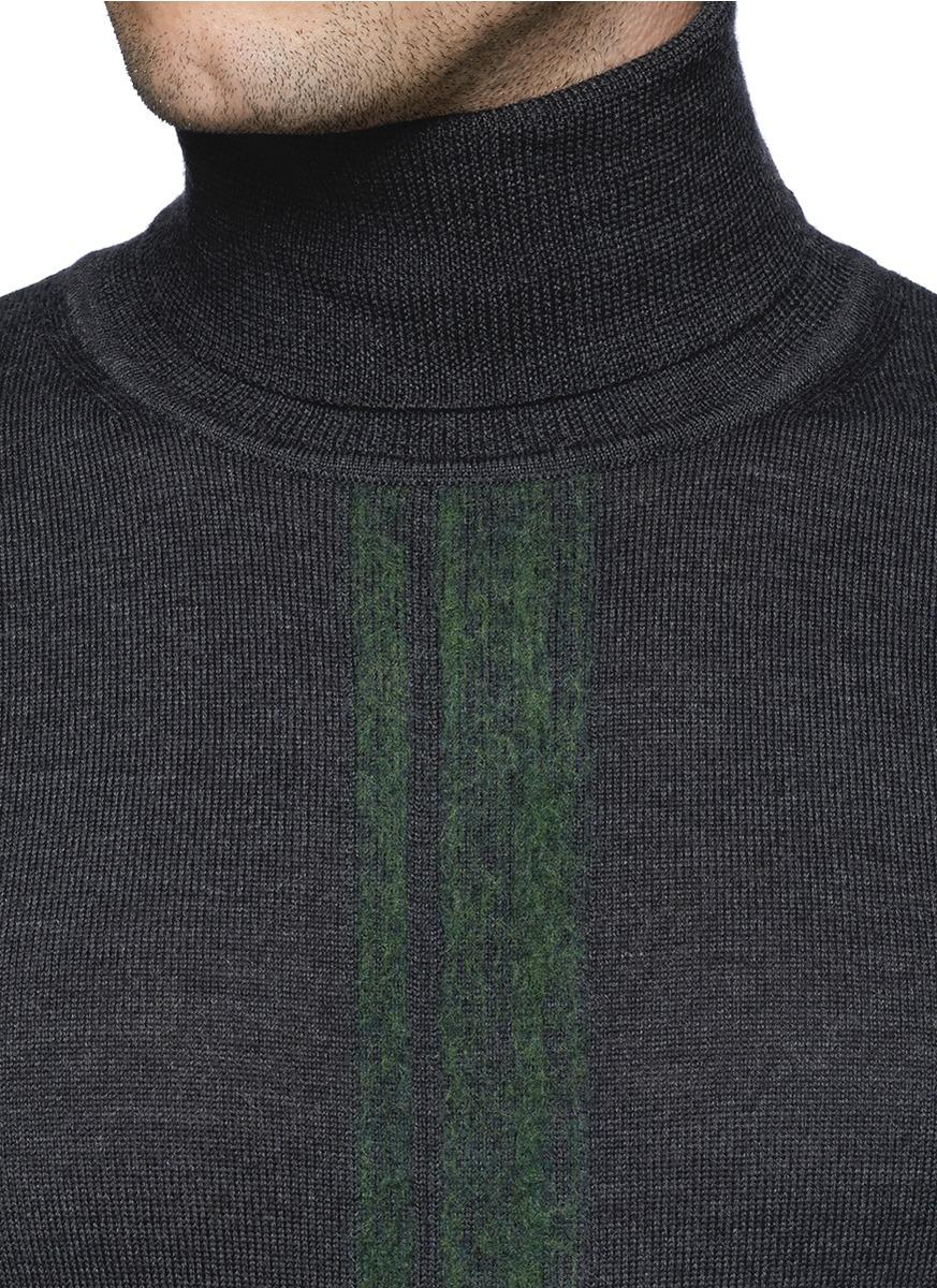 Armani Loose Wool Stripe Turtleneck Sweater in Gray for Men | Lyst