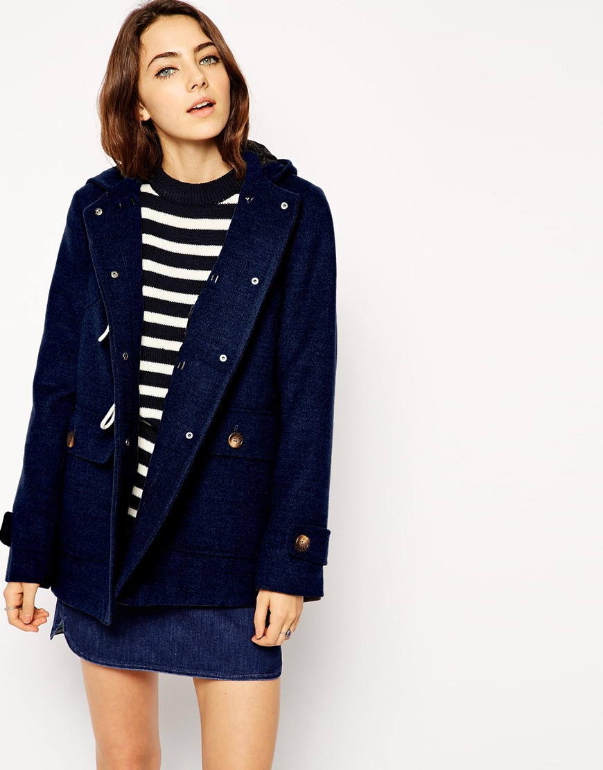 Asos Ultimate Hooded Duffle Coat in Blue | Lyst