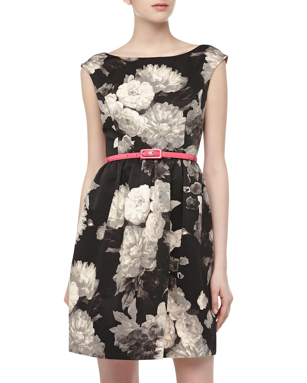 Lyst Eliza J Sleeveless Belted Fitandflare Dress In Black