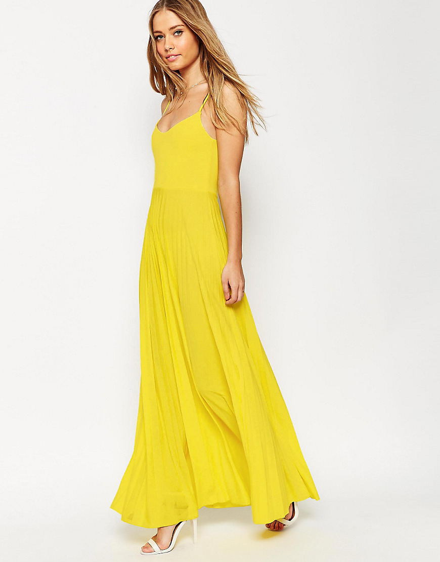 lyst asos cami maxi dress with pleated skirt in yellow. Black Bedroom Furniture Sets. Home Design Ideas