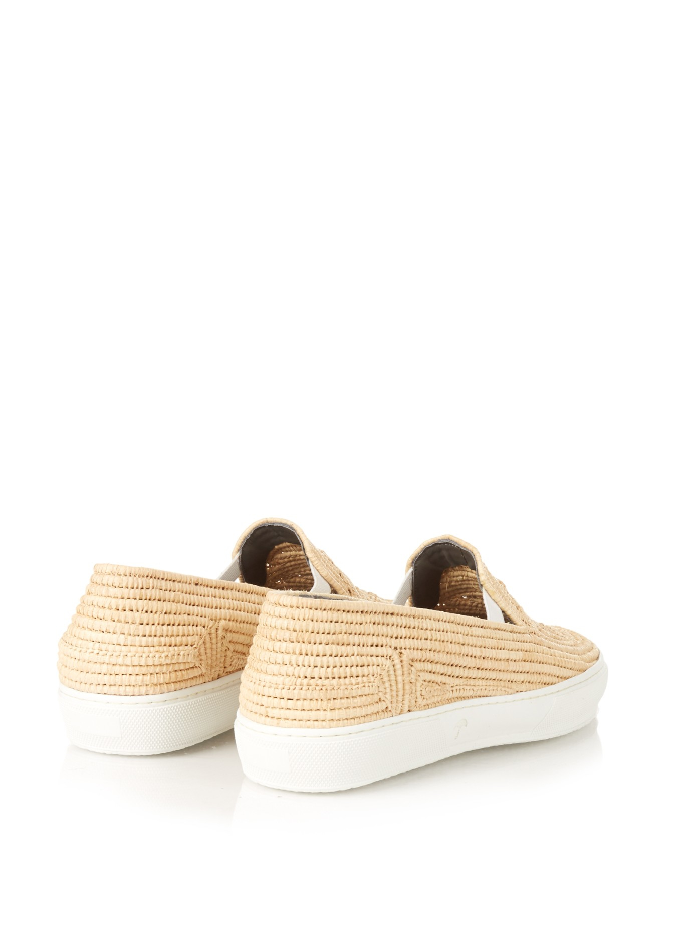 d3b80081696 Lyst - Robert Clergerie Raffia Slip-on Trainers in Natural