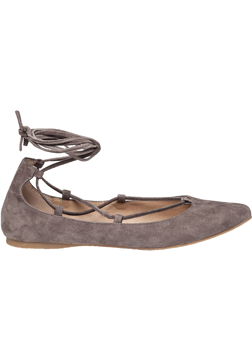 steve madden eleanorr lace up suede ballet flats in brown