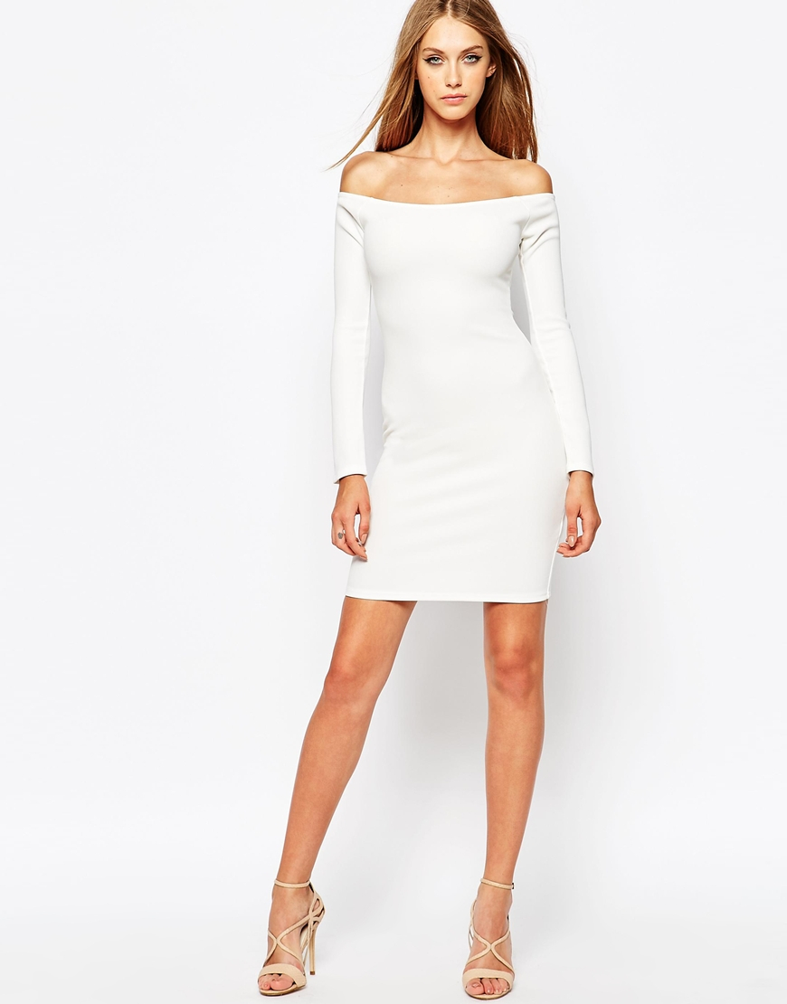 Missguided Off The Shoulder White Body Conscious Dress In