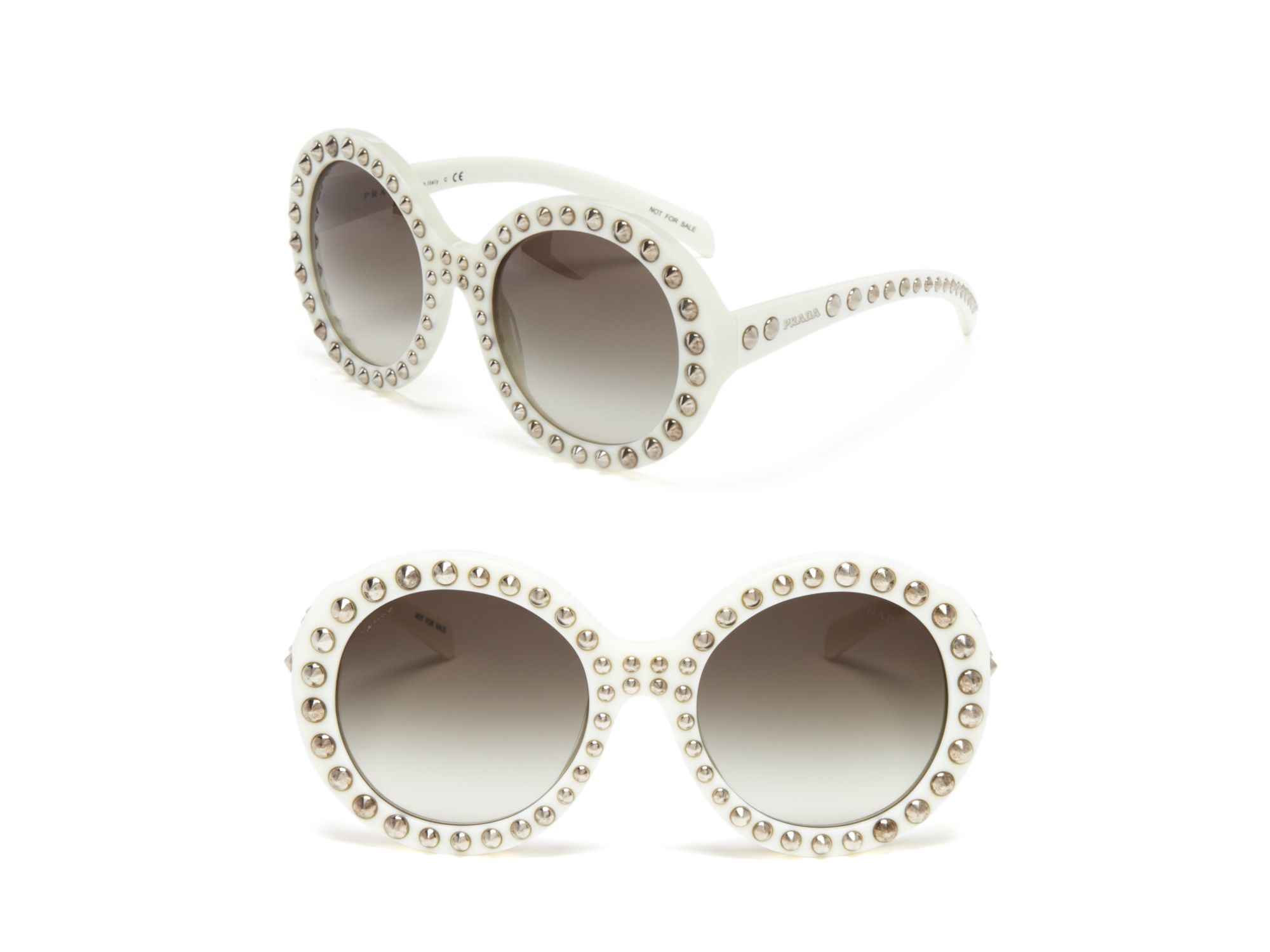 64c4cb1014be Lyst - Prada 56mm Studded Round-frame Sunglasses in White