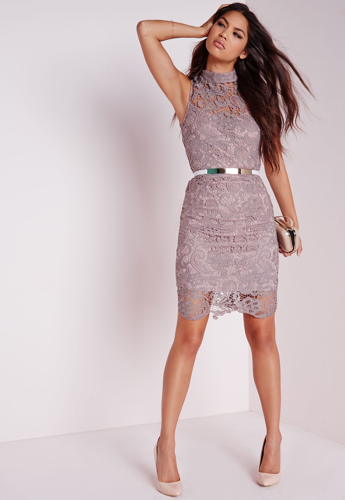 Lyst - Missguided Lace Sleeveless High Neck Bodycon Dress