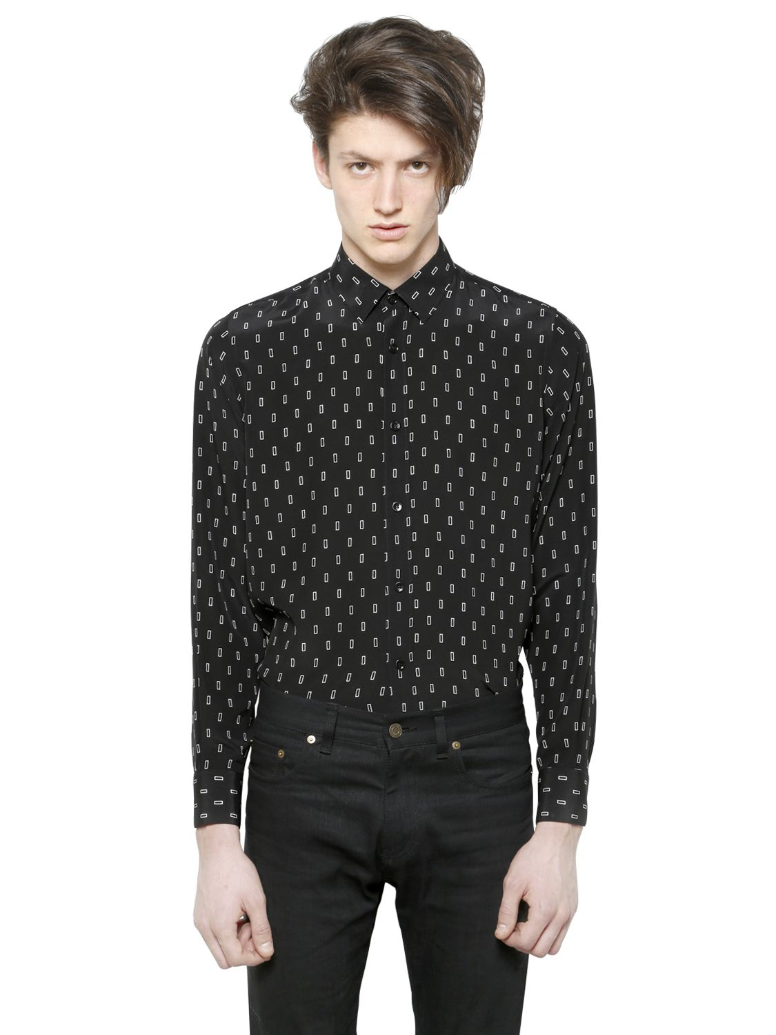 lyst saint laurent rectangular printed silk shirt in