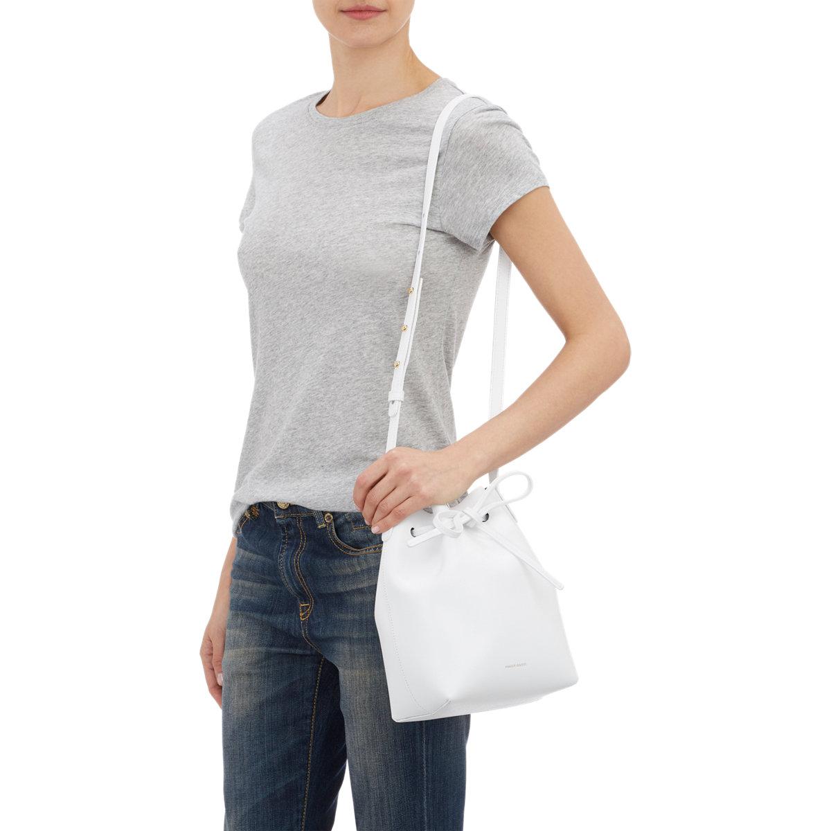 Mansur Gavriel Mini Bucket Bag In White Lyst