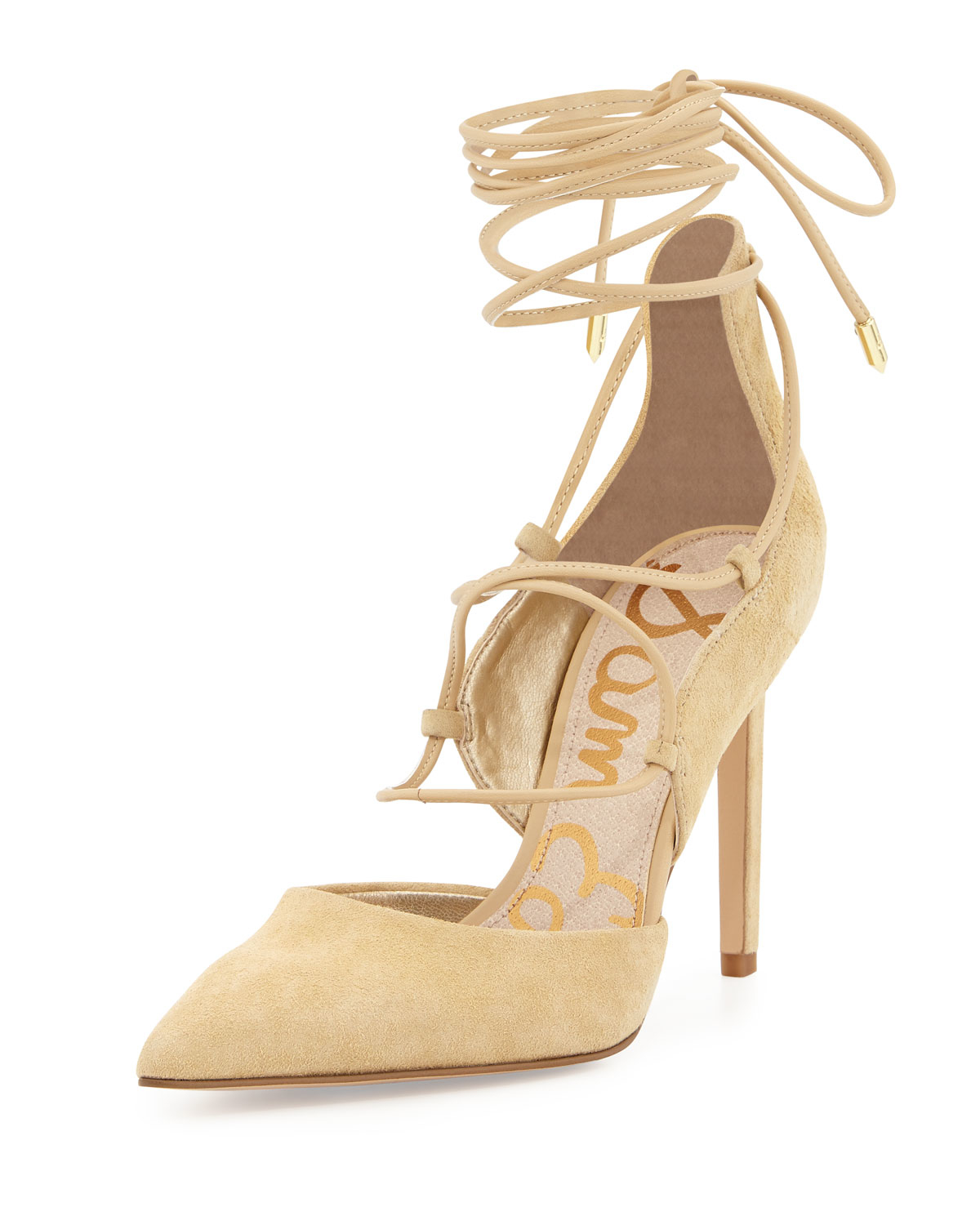 c415ec8192a5 Lyst - Sam Edelman Dayna Suede Lace-up Pump in Natural