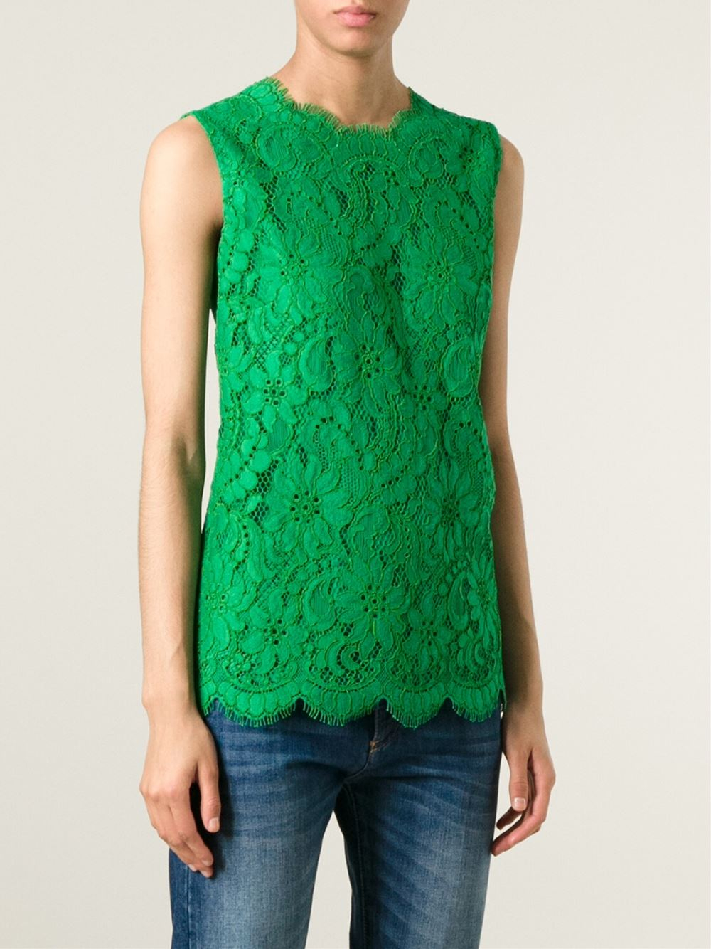 Dolce & Gabbana Floral Lace Sleeveless Blouse in Green - Lyst