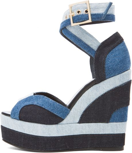 hardy denim wedge sandals in blue lyst