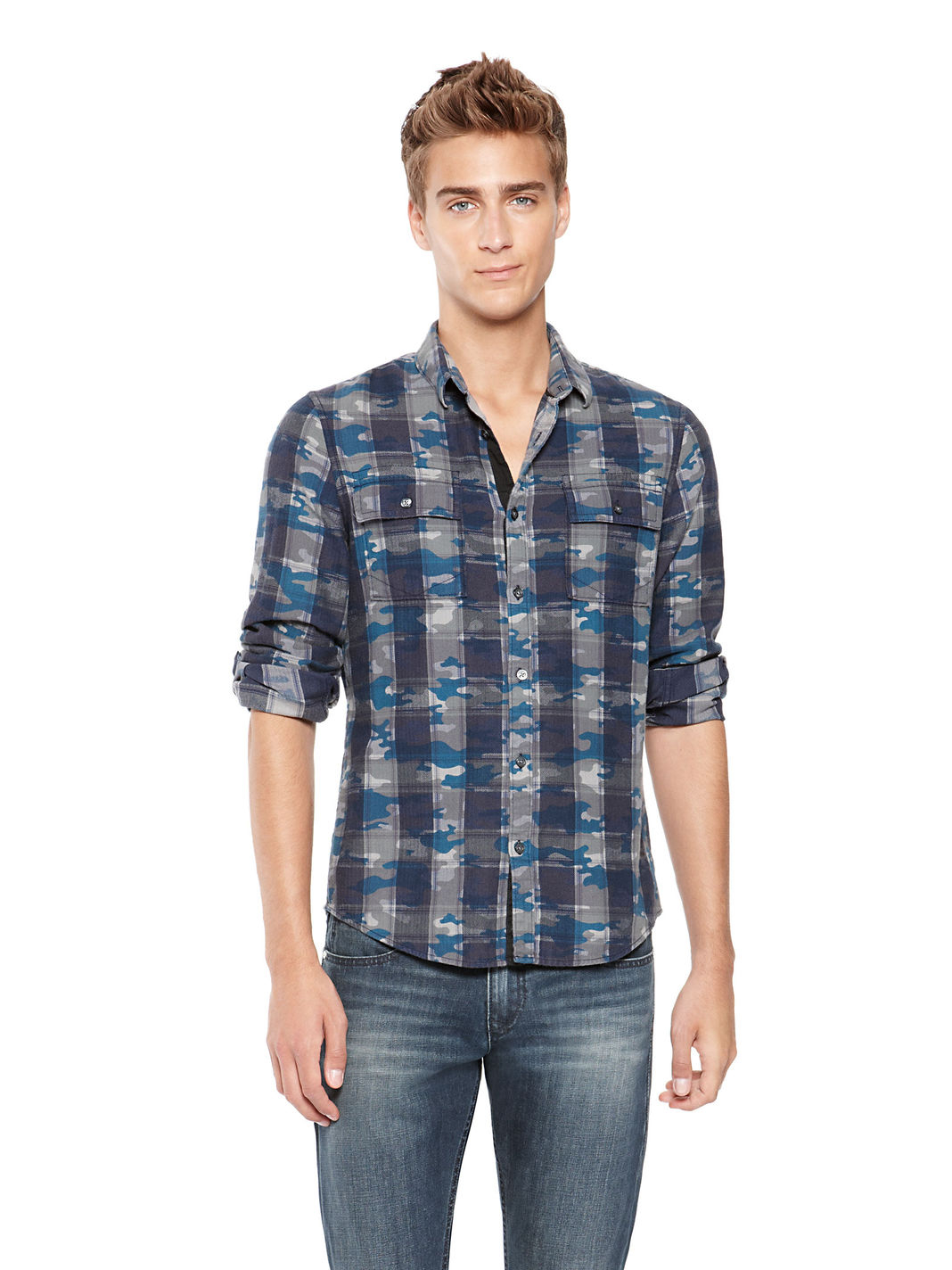 dkny blue jeans international camo flannel shirt for