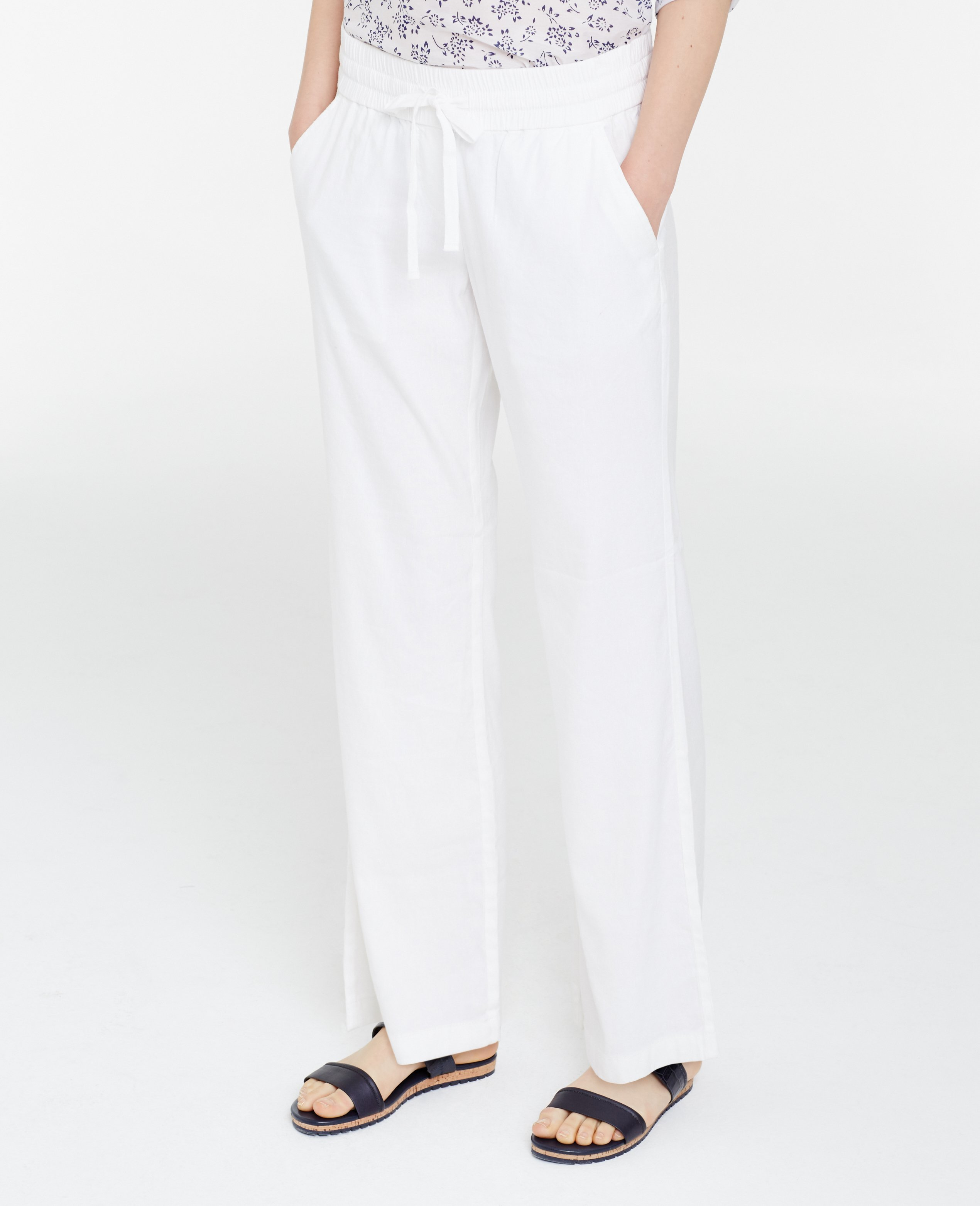 Ann taylor Petite Linen Blend Beach Pants in White | Lyst