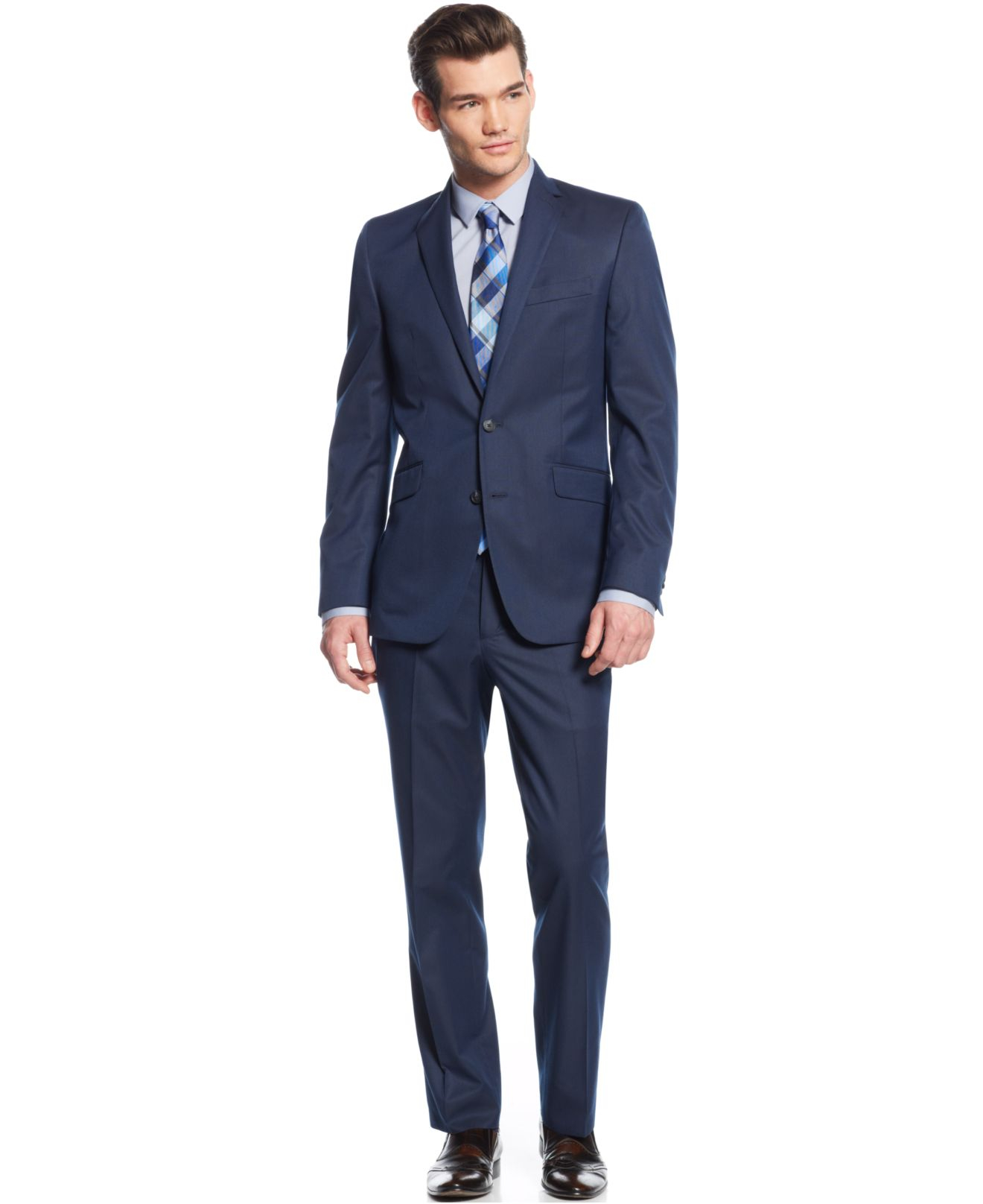 Kenneth cole reaction Blue Pinstripe Slim-fit Suit in Blue for Men ...