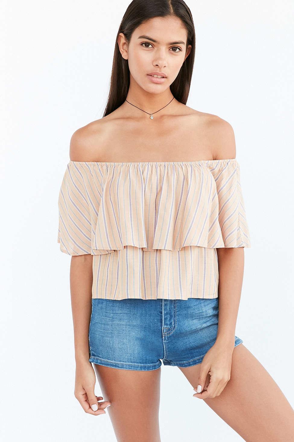 613aa86612e Kimchi Blue Raquel Ruffle Stripe Off-the-shoulder Blouse in Orange ...