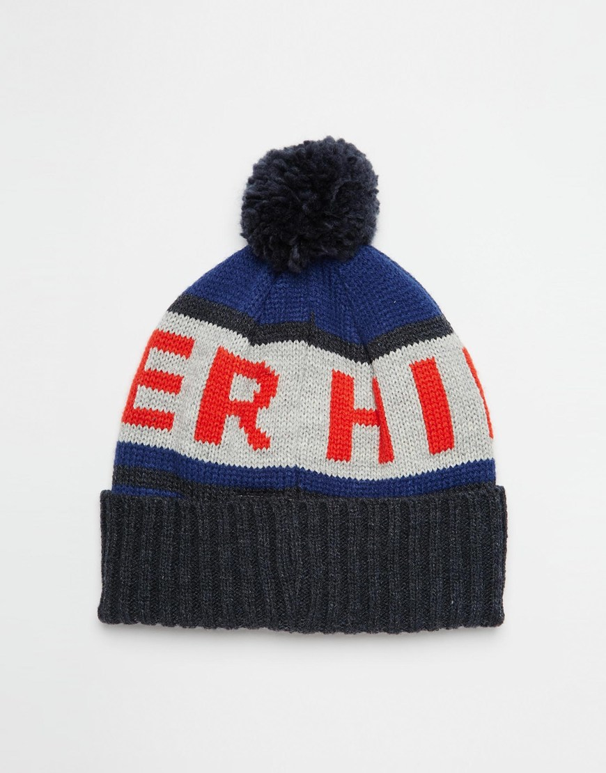 Lyst - Tommy Hilfiger Fred Bobble Beanie Hat in Blue for Men a3581ab9330