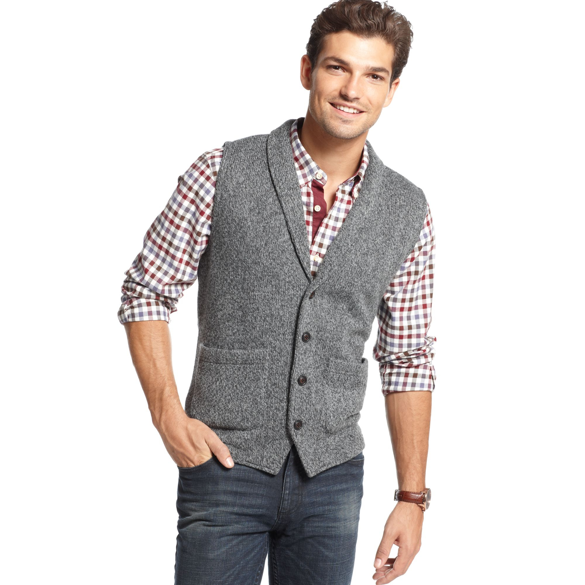 Lyst Tommy Hilfiger Shawl Collar Button Down Sweater Vest In Gray