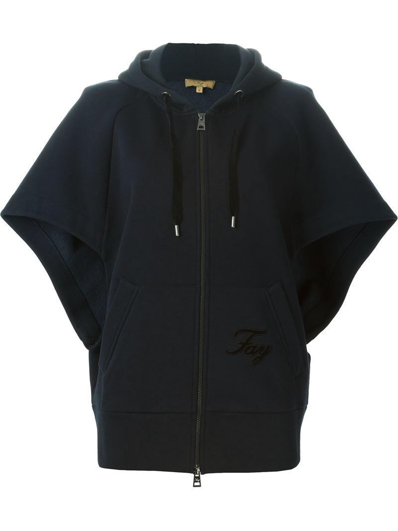 Fay Short Sleeve Hoodie In Black Lyst