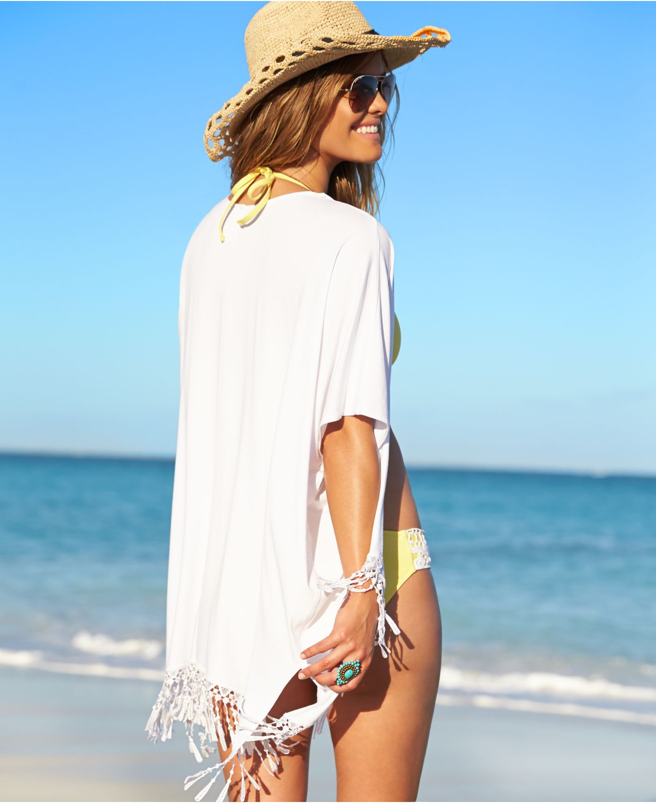 9ce7410814362 Lyst - Becca Fringe Kimono Cover Up in White