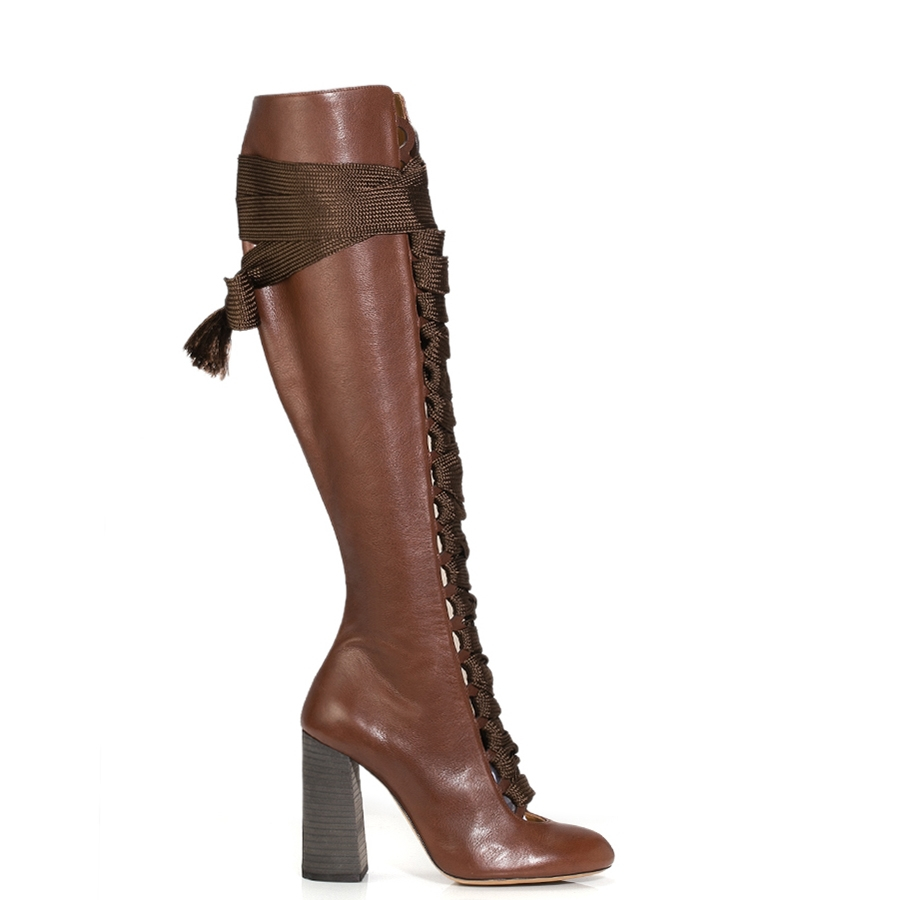 063bbf3ca1a Lyst - Chloé Palmer Leather Knee-High Boots in Brown