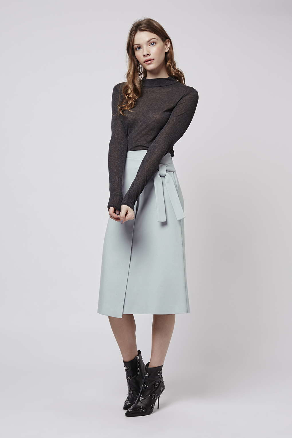 Topshop Wrap-tie Midi Skirt in Gray | Lyst