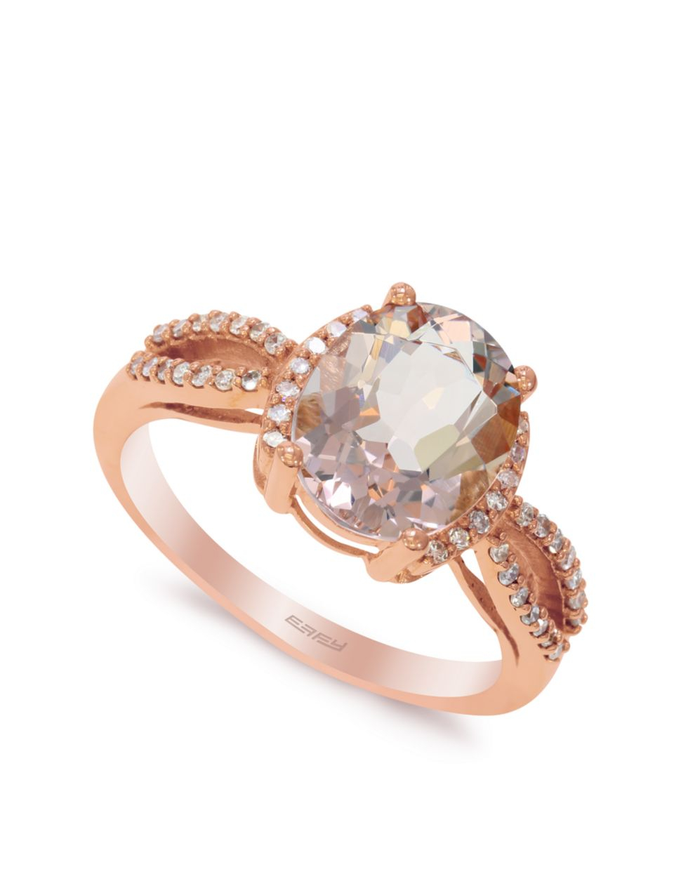 effy 14k rose gold morganite and diamond ring in gold