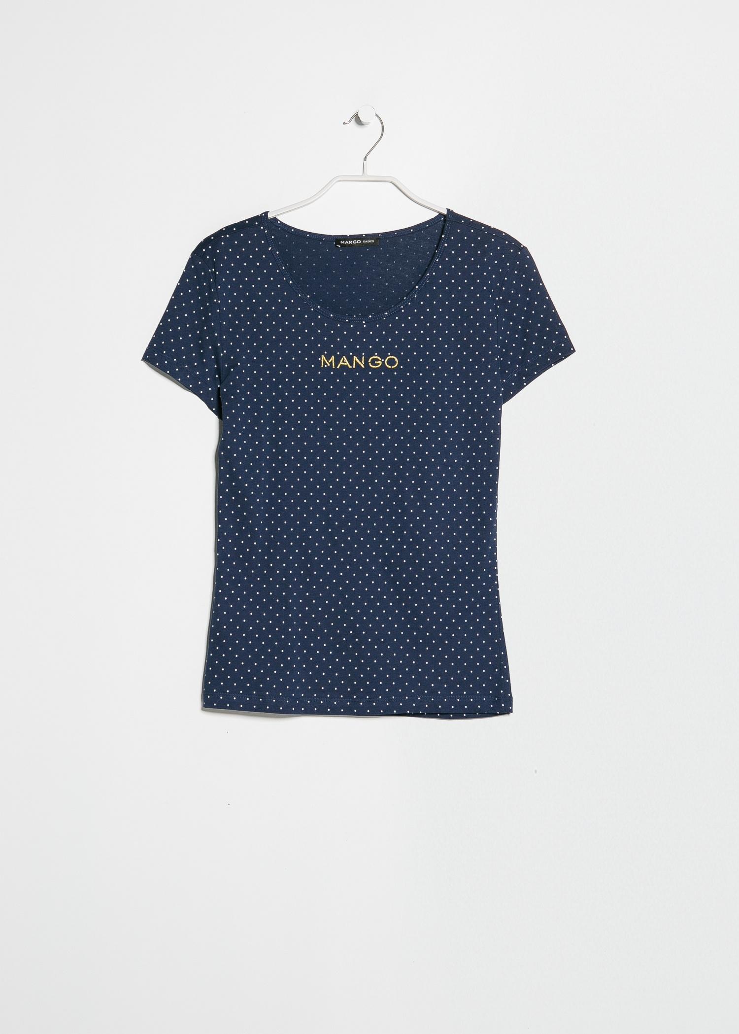 Lyst mango logo polkadot tshirt in blue for men for Logo t shirt dress