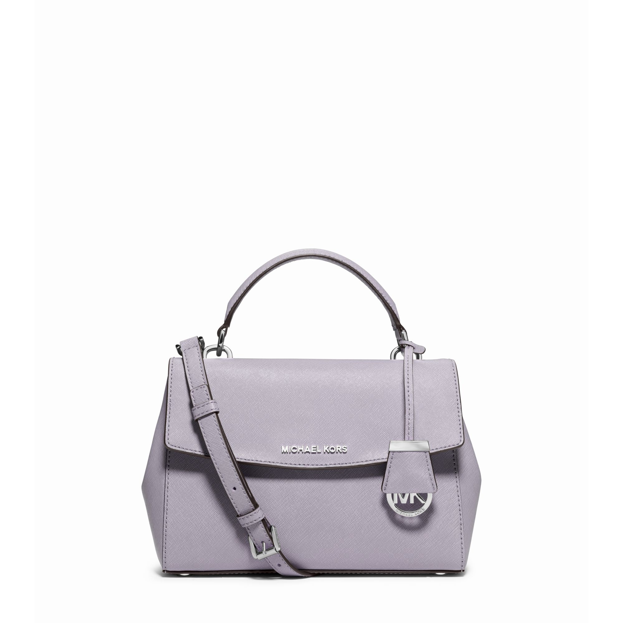 a61fc025be50 Michael Kors Ava Small Saffiano Leather Satchel in Purple - Lyst
