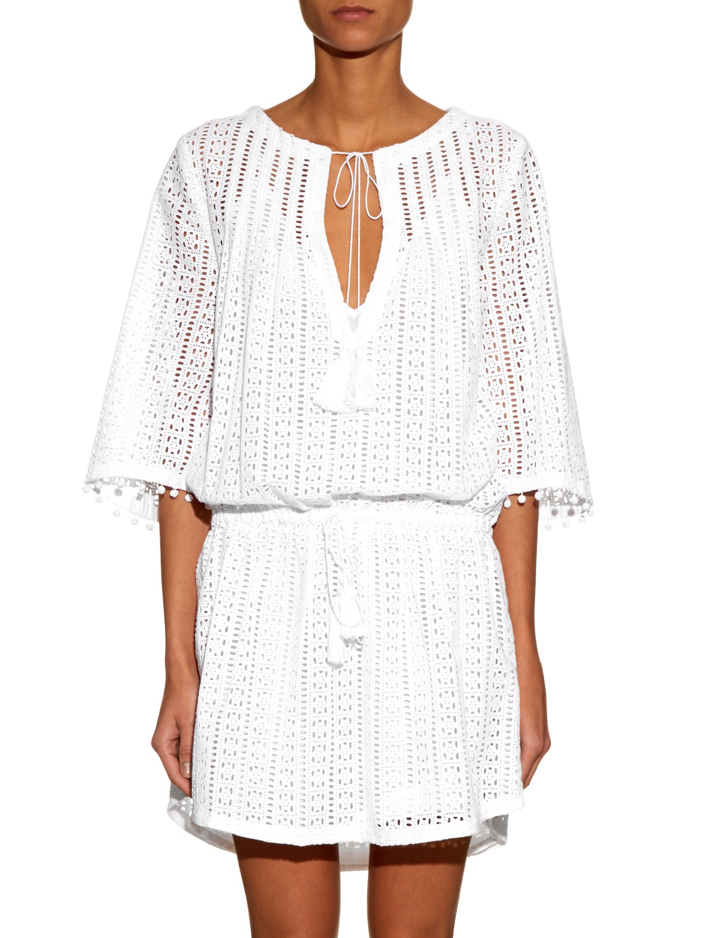 Talitha embroidered cut out cotton dress in white lyst