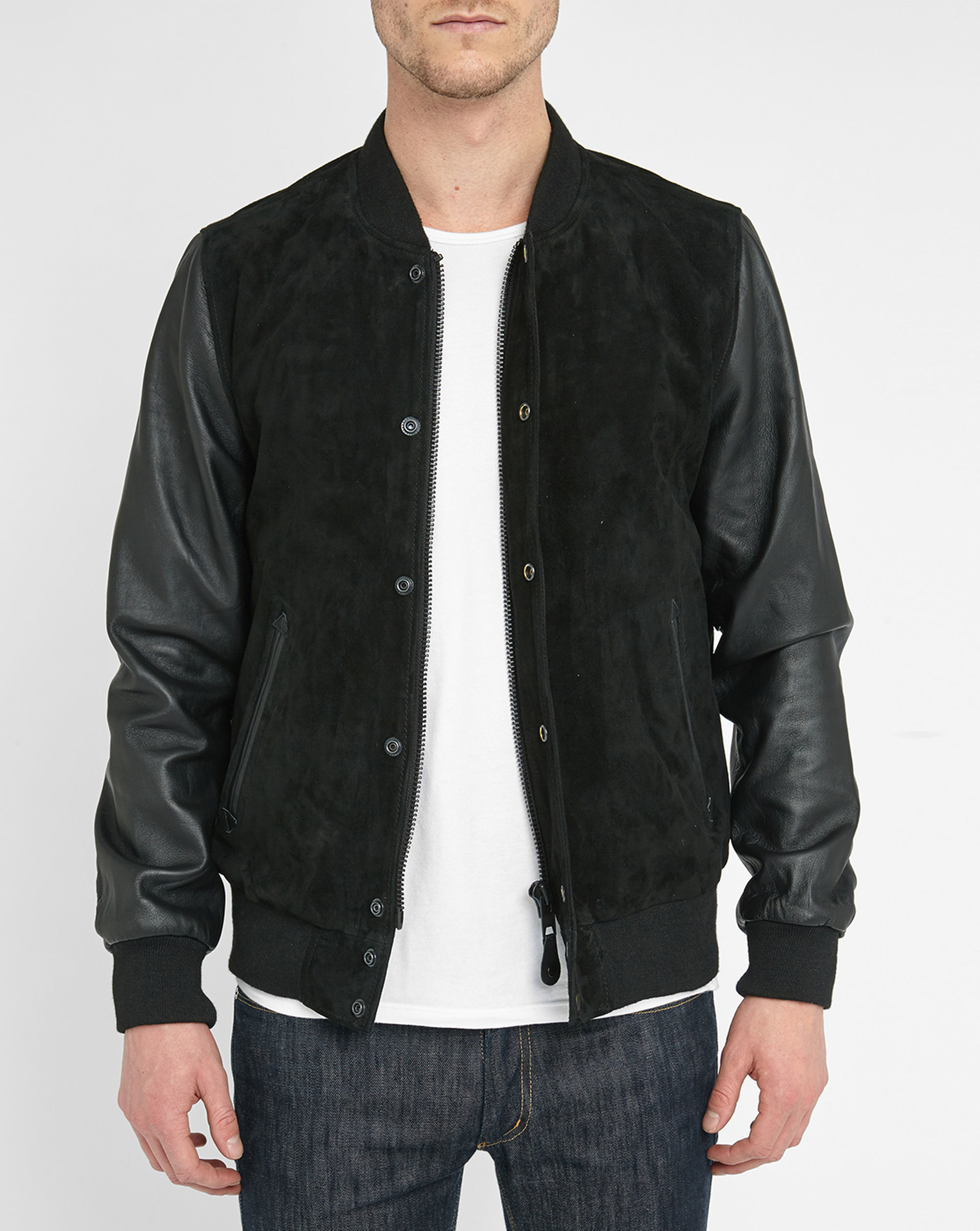 Schott nyc Black Leather/suede Baseball Jacket in Black ...