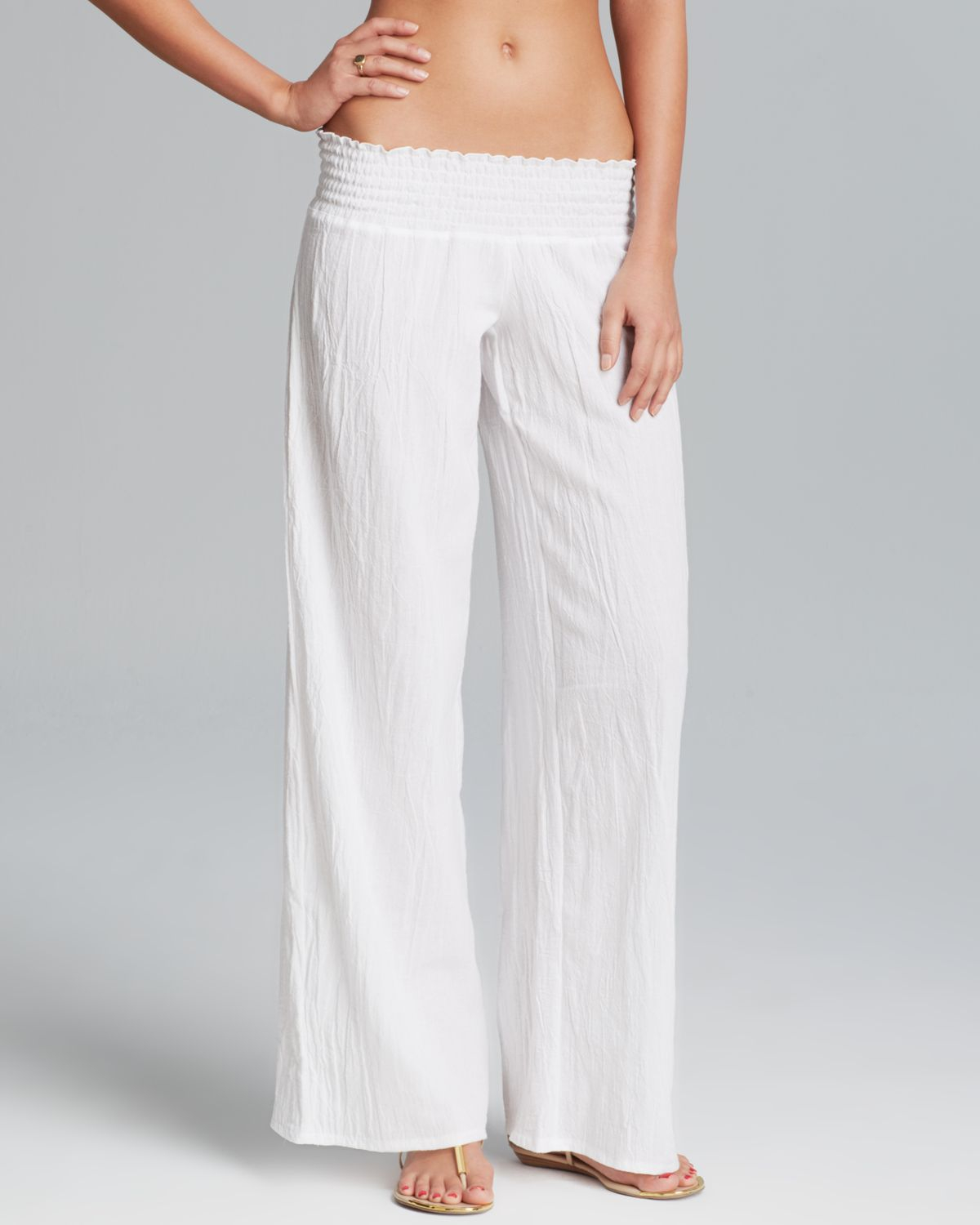 94ce81bf65d Debbie Katz Gauze Swim Cover Up Pants in White - Lyst