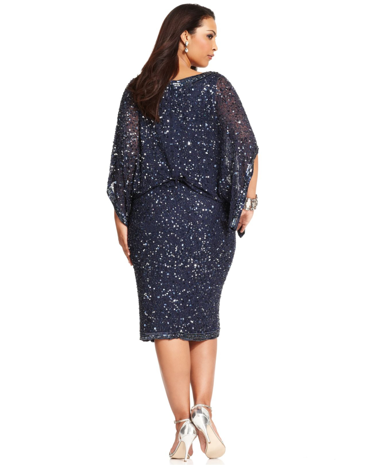 b2ea180d30d Lyst - Patra Plus Size Kimono-Sleeve Beaded Dress in Blue