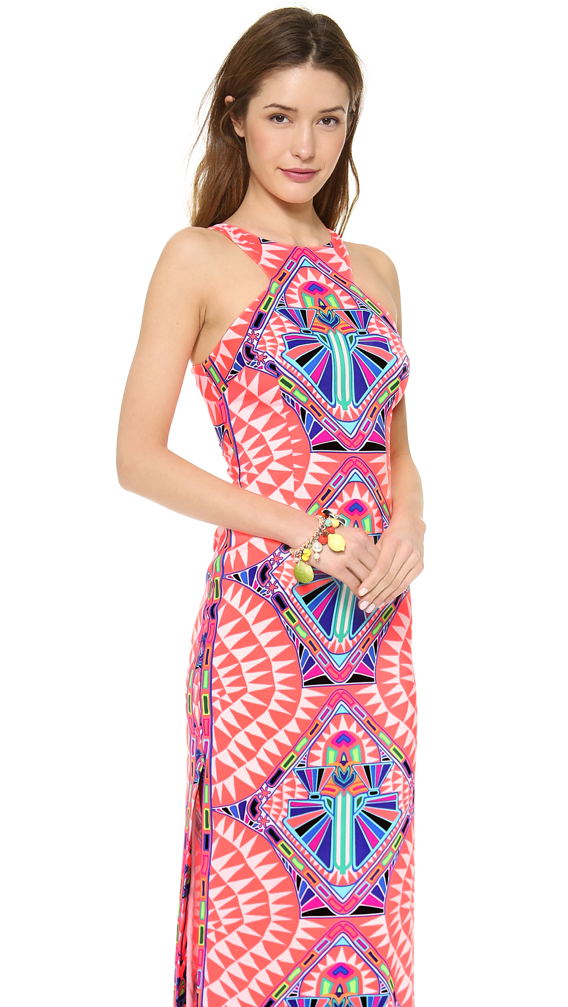 bfa138e05e53 Lyst - Mara Hoffman High Neck Column Maxi Dress Cosmic Fountain Coral