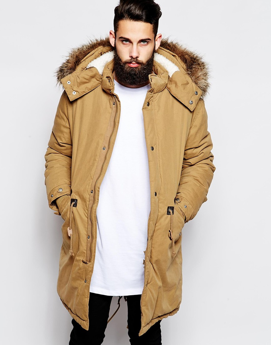 Asos Fishtail Parka With Thinsulate in Brown for Men | Lyst