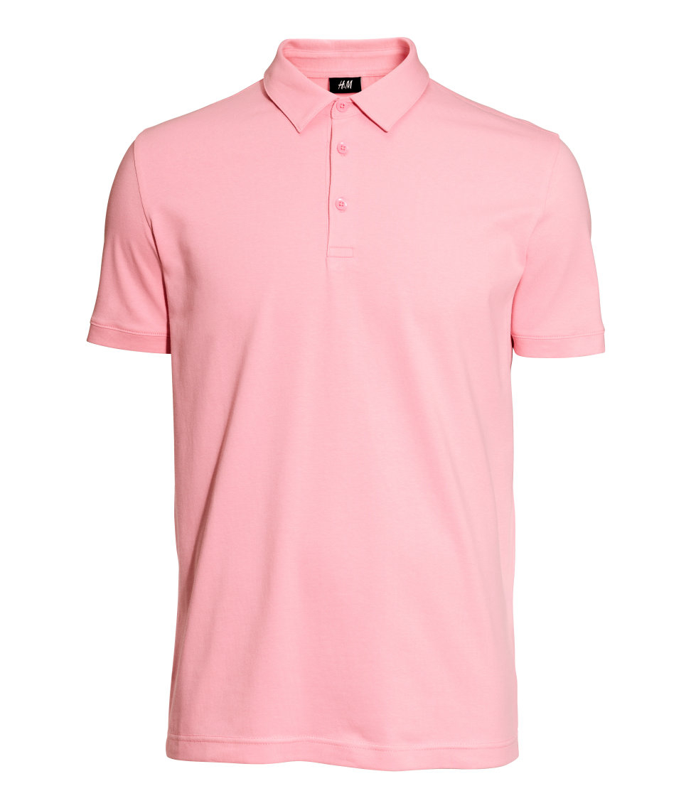 Lyst h m polo shirt in pink for men for H m polo shirt mens