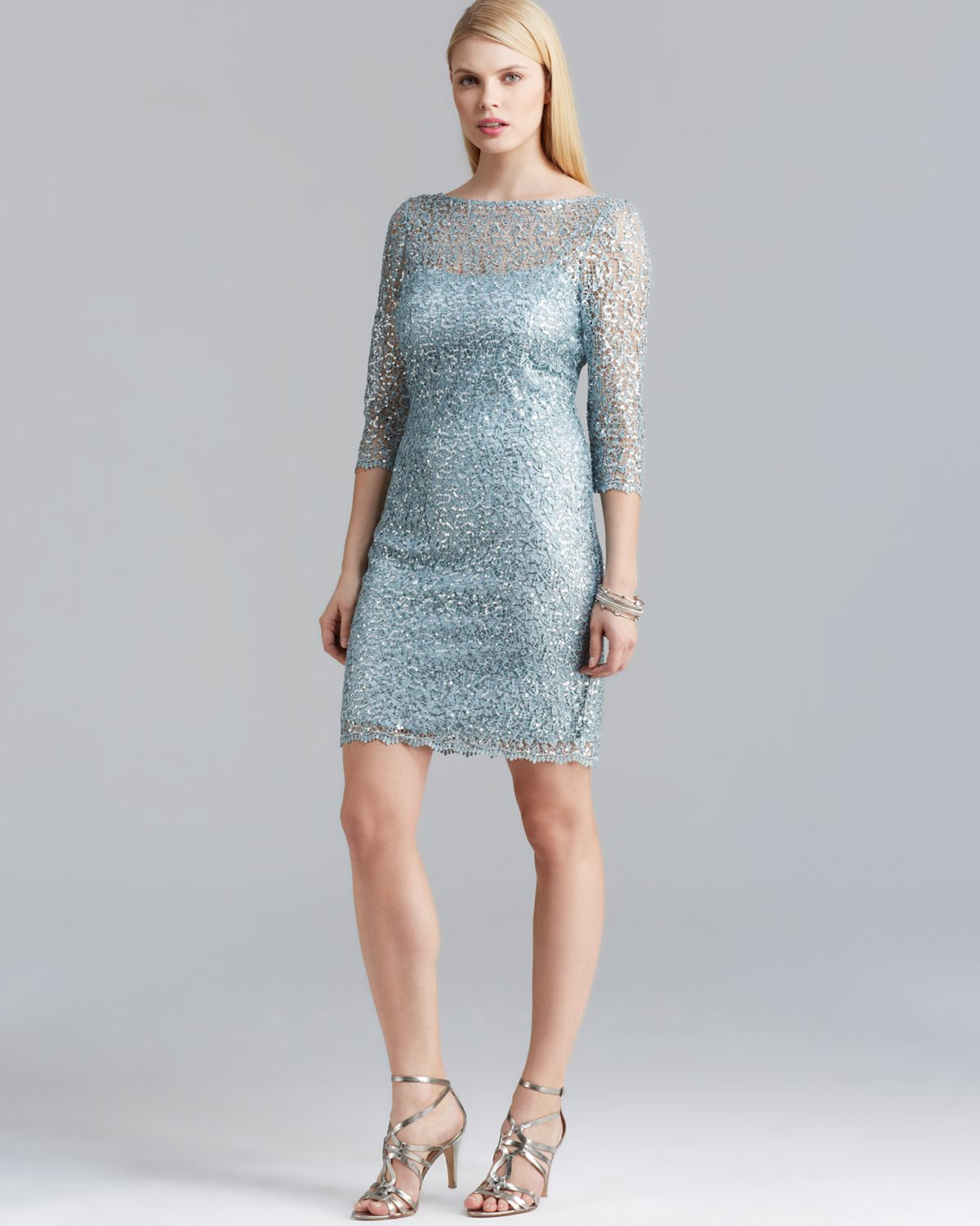 Kay Unger Dress Three Quarter Sleeve Lace In Blue