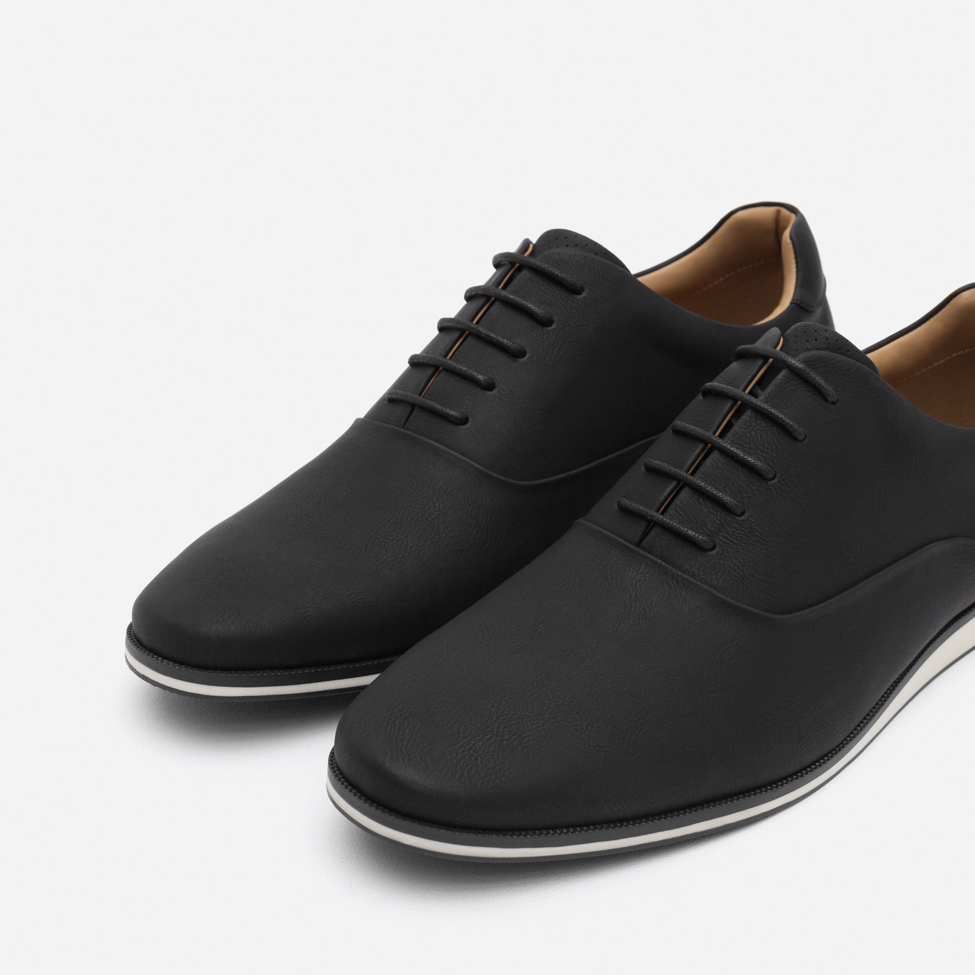 Zara Oxford Style Casual Shoes in Black for Men | Lyst