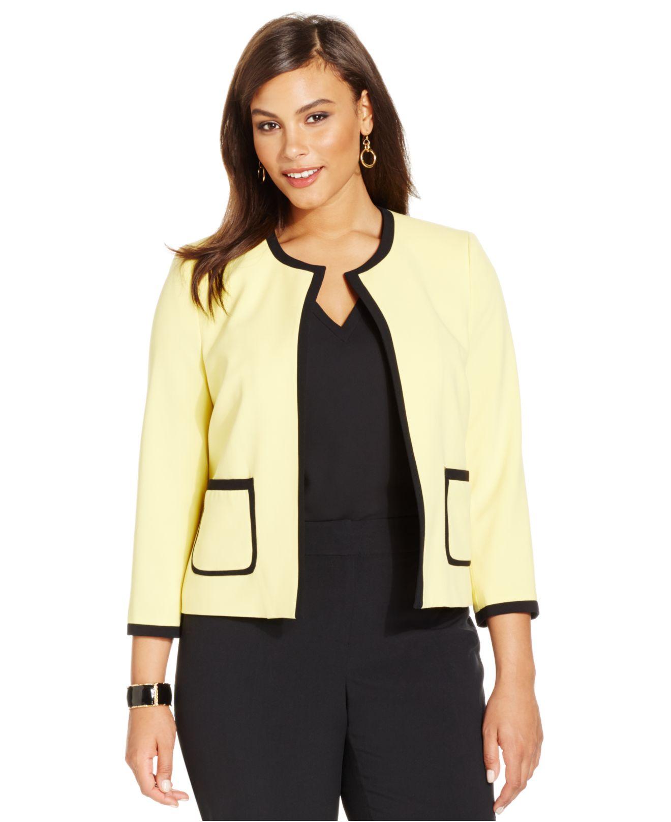 95295af9d9da7 Lyst - Nine West Plus Size Contrast-Trim Blazer in Yellow