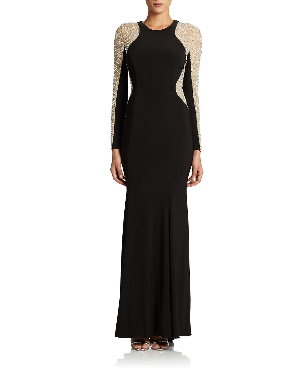 Xscape Plus Long Sleeved Beaded Gown in Black | Lyst: https://www.lyst.com/clothing/xscape-plus-long-sleeved-beaded-gown...