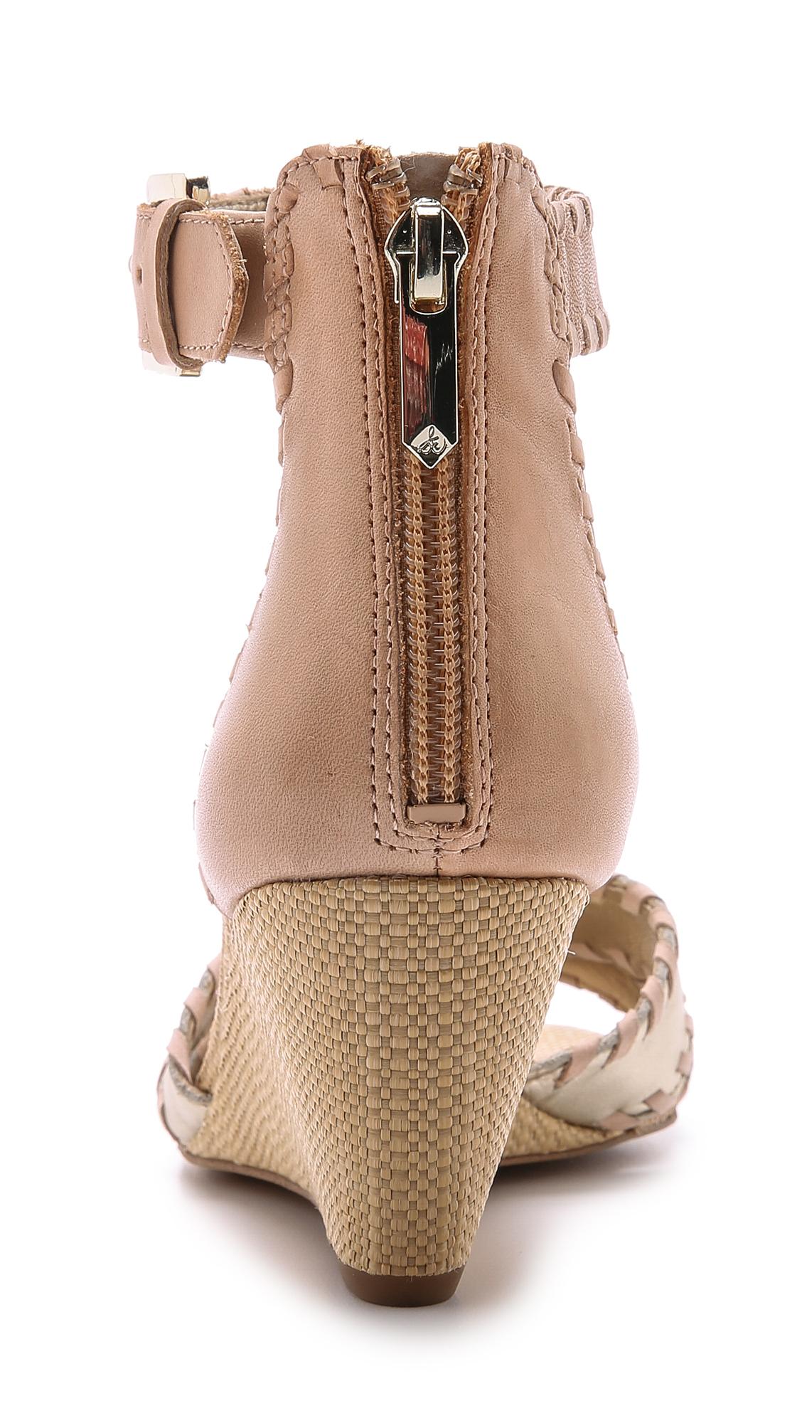 86a474b1c11de8 Sam Edelman Silvia Wedge Sandals - Jute Natural Peach Melba in ...
