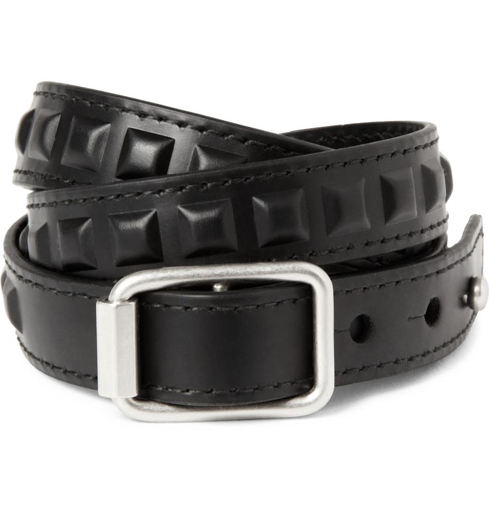 Lyst Balenciaga Studded Leather Wrap Bracelet In Black
