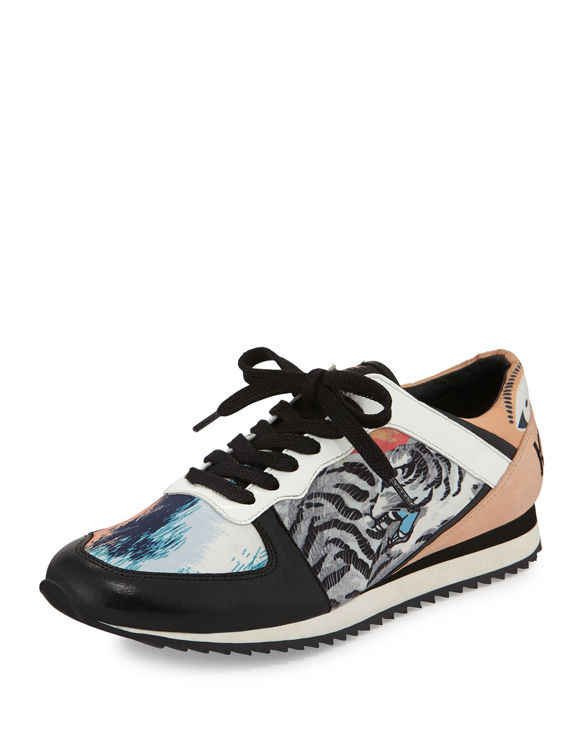 Lyst - Kenzo Tiger-print Lace-up Sneaker in Blue